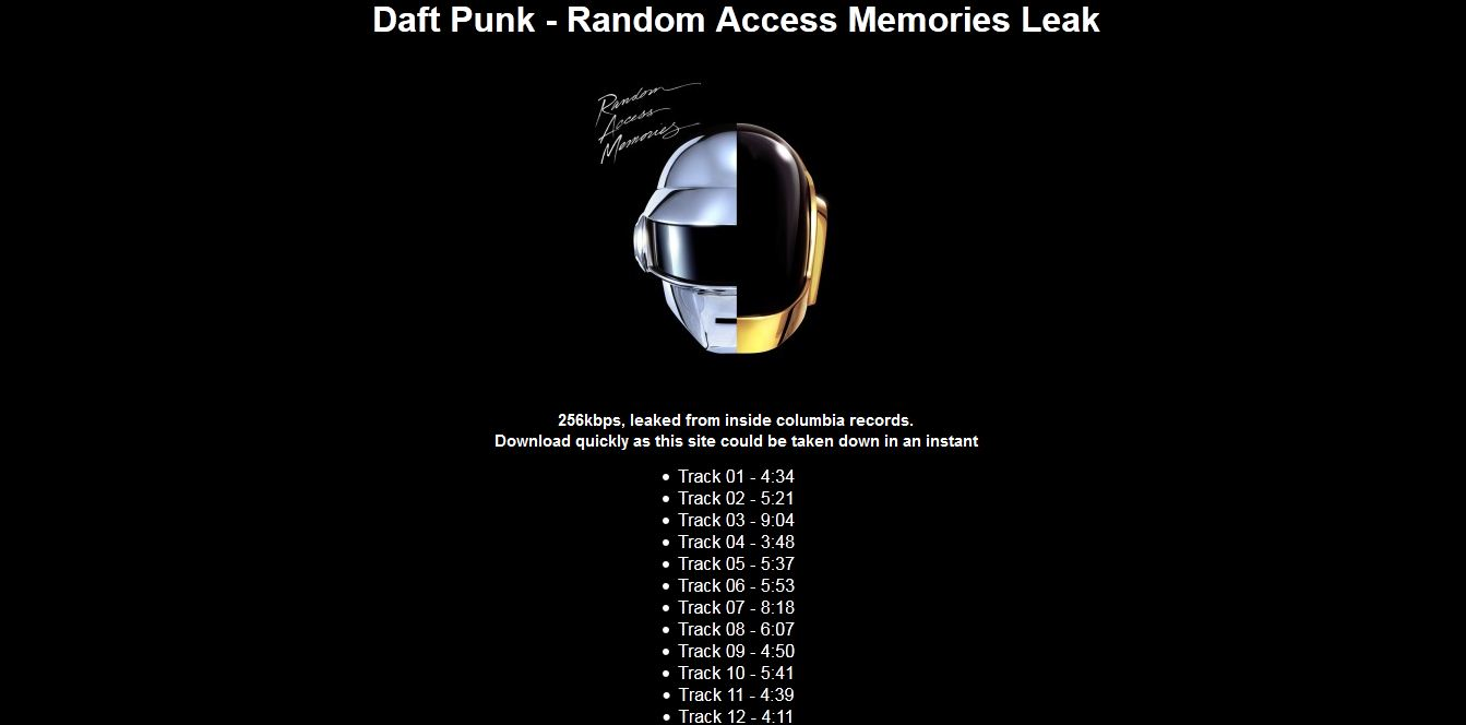 Someone 'leaked' D... Random Access Memories Cd
